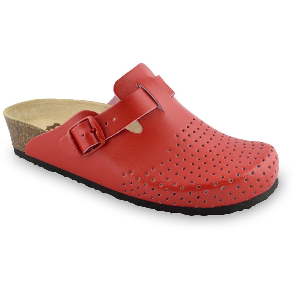 BEOGRAD bőr női zártpapucsok (36-42) - piros, 38