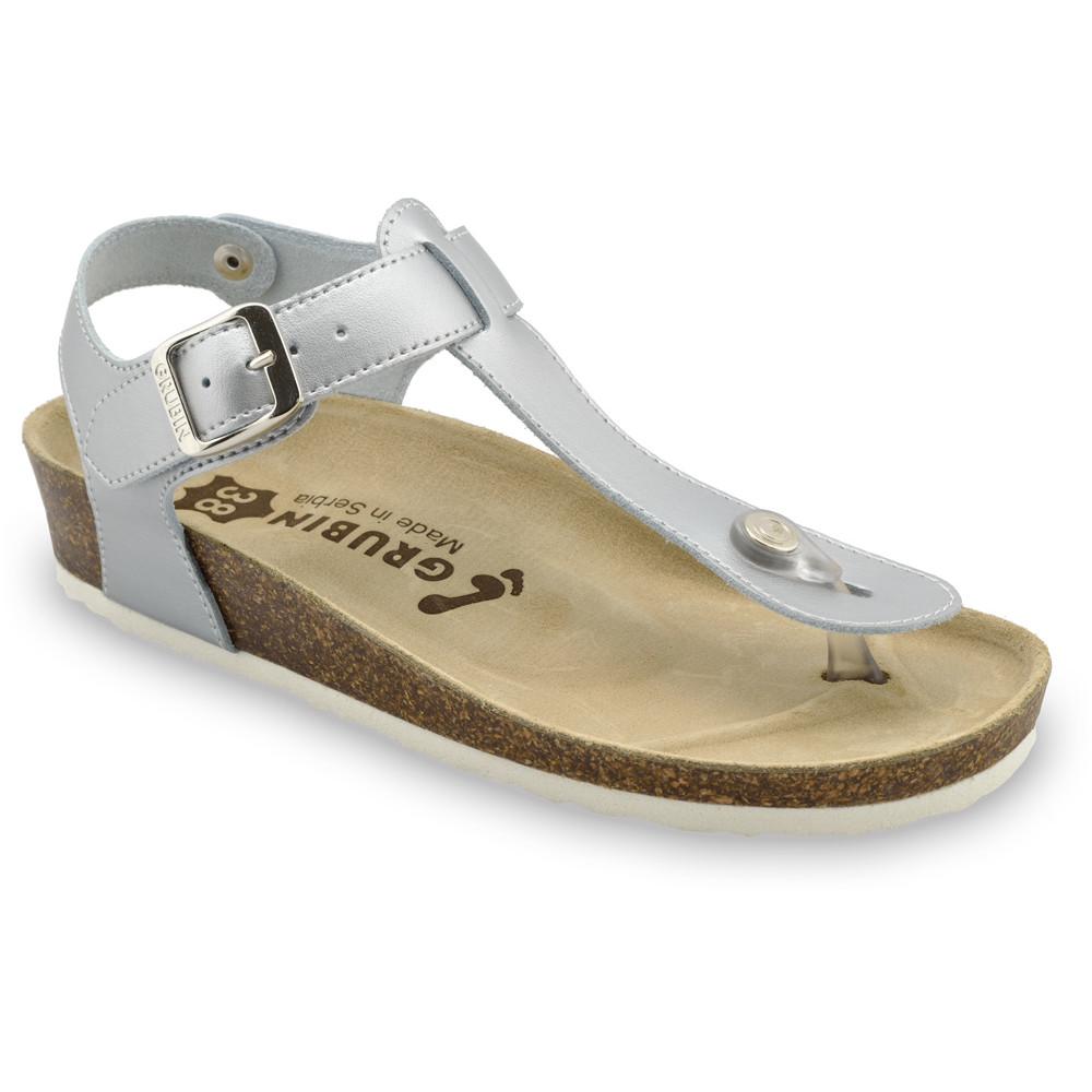 TOBAGO női lábujjközös papucsok - rostbőr (36-42) - ezüst, 38