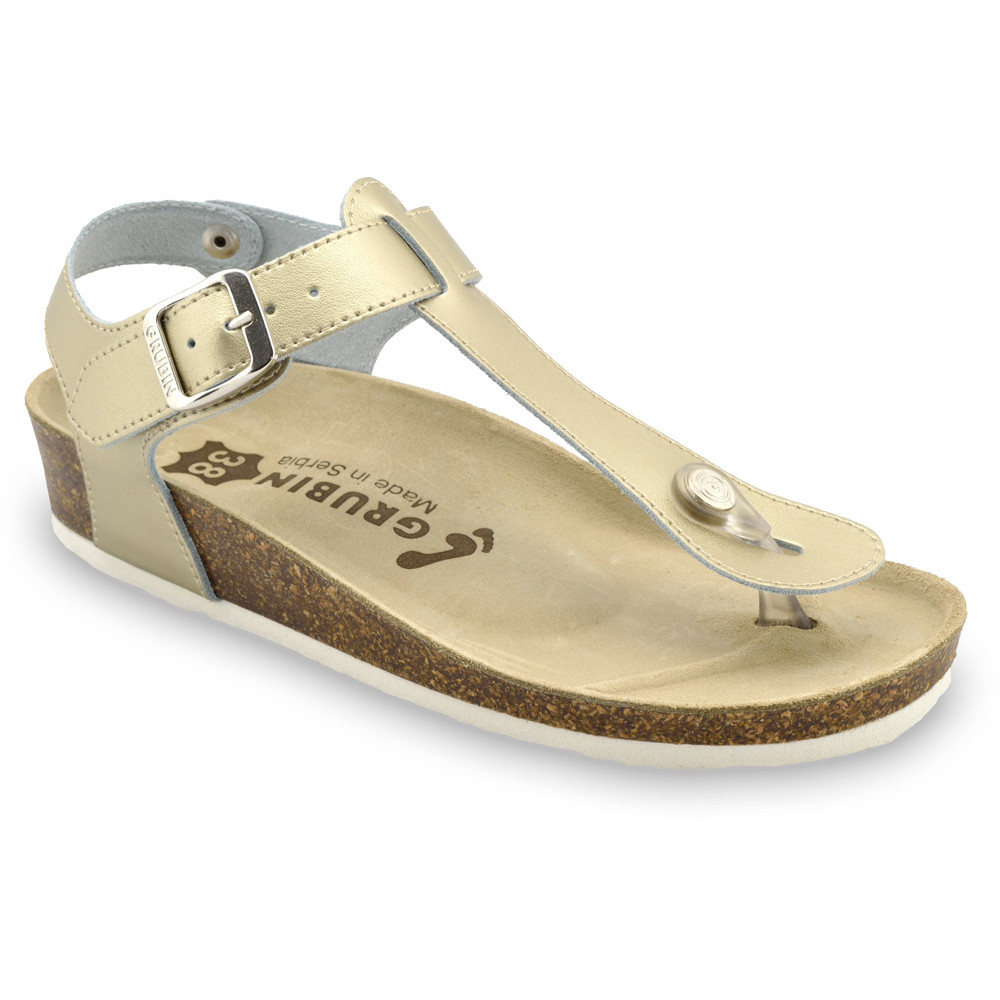 TOBAGO női lábujjközös papucsok - rostbőr (36-42) - arany, 38